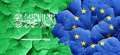 Saudi Arabia flag with european union flag on a grunge cracked w - stock illustration