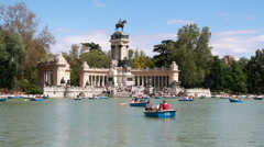 Boating in Retiro Park in Madrid, Spain Stock Footage