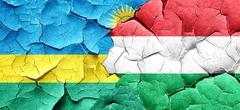 Rwanda flag with Hungary flag on a grunge cracked wall - stock illustration