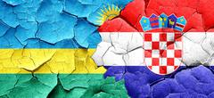 Rwanda flag with Croatia flag on a grunge cracked wall Stock Illustration