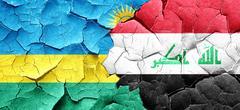 Rwanda flag with Iraq flag on a grunge cracked wall Stock Illustration
