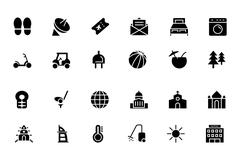 Black Hotel and Restaurant Vector Icons Collection - stock illustration