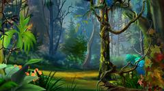 Wild and Dark Tropical Forest. Stock Illustration