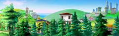 Rural Landscape with Spruce Trees and Buildings on Background - stock illustration