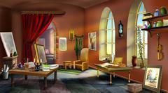 Inside the Artist's Studio Stock Illustration