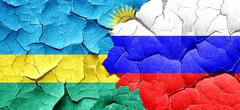 Rwanda flag with Russia flag on a grunge cracked wall Stock Illustration