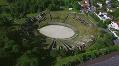 Aerial view of the Amphitheatre in Charente-Maritime, City of Saintes - stock footage