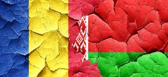 Romania flag with Belarus flag on a grunge cracked wall Stock Illustration