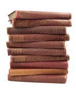 Antique books isolated on white - stock photo