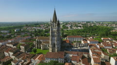 Aerial view of St. Eutrope church in Charente-Maritime, City of Saintes - stock footage