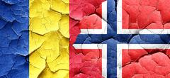 Romania flag with Norway flag on a grunge cracked wall Stock Illustration