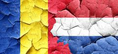 Romania flag with Netherlands flag on a grunge cracked wall - stock illustration