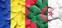 Romania flag with Algeria flag on a grunge cracked wall - stock illustration