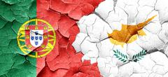 Portugal flag with Cyprus flag on a grunge cracked wall Stock Illustration