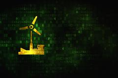 Manufacuring concept: Windmill on digital background - stock illustration