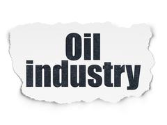 Manufacuring concept: Oil Industry on Torn Paper background - stock illustration