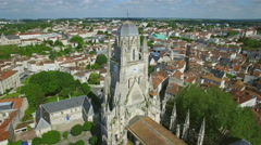 Aerial view of the St. Pierre Cathedral in Charente-Maritime, City of Saintes Stock Footage