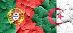 Portugal flag with Algeria flag on a grunge cracked wall Stock Illustration