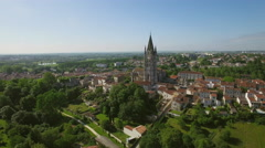 Aerial view of St. Eutrope church in Charente-Maritime, City of Saintes Stock Footage
