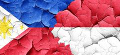 Philippines flag with Indonesia flag on a grunge cracked wall - stock illustration