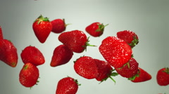Strawberry flying in the air Stock Footage