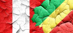 Peru flag with congo flag on a grunge cracked wall Stock Illustration