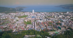 Slider Style Aerial Shot of Patong Town and Beach In Phuket Stock Footage
