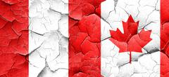Peru flag with Canada flag on a grunge cracked wall - stock illustration