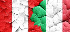 Peru flag with Italy flag on a grunge cracked wall Stock Illustration