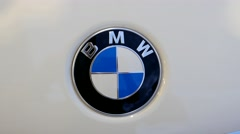 BMW logotype on a white car. Stock Footage