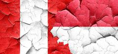 Peru flag with Indonesia flag on a grunge cracked wall - stock illustration