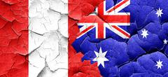 Peru flag with Australia flag on a grunge cracked wall - stock illustration
