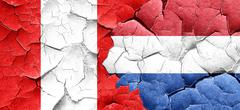 Peru flag with Netherlands flag on a grunge cracked wall - stock illustration