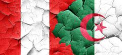 Peru flag with Algeria flag on a grunge cracked wall - stock illustration