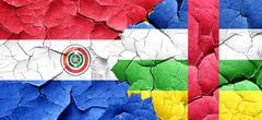 Paraguay flag with Central African Republic flag on a grunge cra Stock Illustration