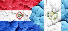 Paraguay flag with Guatemala flag on a grunge cracked wall Stock Illustration