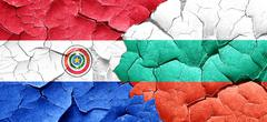 Paraguay flag with Bulgaria flag on a grunge cracked wall - stock illustration
