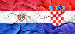 Paraguay flag with Croatia flag on a grunge cracked wall - stock illustration