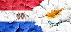 Paraguay flag with Cyprus flag on a grunge cracked wall - stock illustration