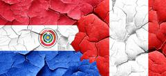 Paraguay flag with Peru flag on a grunge cracked wall Stock Illustration