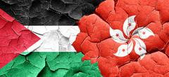 palestine flag with Hong Kong flag on a grunge cracked wall - stock illustration