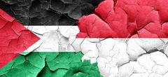 palestine flag with Indonesia flag on a grunge cracked wall - stock illustration