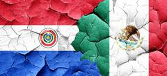Paraguay flag with Mexico flag on a grunge cracked wall Stock Illustration