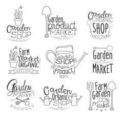 Organic Garden Hand Drawn Banner Set - stock illustration