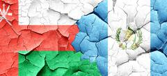 Oman flag with Guatemala flag on a grunge cracked wall - stock illustration