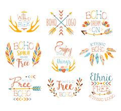 Free Spirit Hand Drawn Banner Set - stock illustration