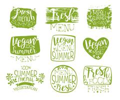 Vegan Menu Vintage Stamp Collection - stock illustration