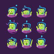 Alien In Ufo Emoji Set Stock Illustration