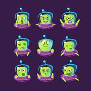 Alien In Ufo Emoticon Set - stock illustration