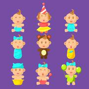 Babies An Toddles Sticker Set - stock illustration